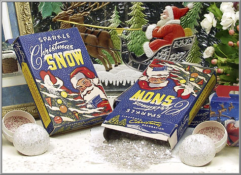 1930's 'Sparkle Christmas Snow' mica flakes in original old box