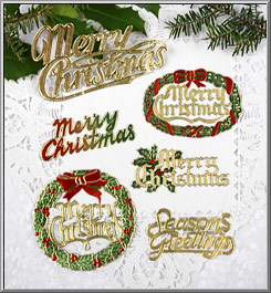 1970s vintage foil paper scripts Christmas greetings set 6 assortment