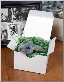 vintage mohair bunny head in white gift box