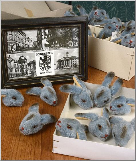 vintage mohair toy bunny rabbit heads from East Germany