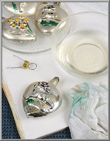 how to strip ornaments to silver with acetone
