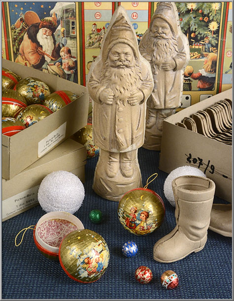 vintage cardboard Christmas decorations from Western Germany