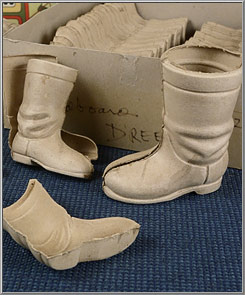 1980s Santa Claus cardboard boot halves from Western Germany