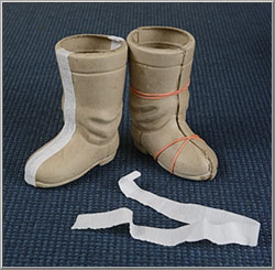 example of how to put together cardboard Santa boot halves