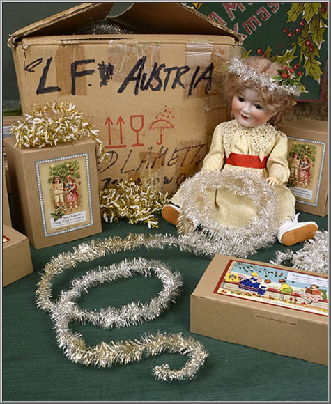 Austrian Lametta tinsel silver wired roping and German Christmas tree garlands